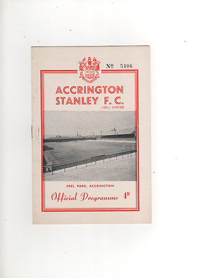 1961-62 ACCRINGTON STANLEY v CHESTERFIELD 27th January 1962 Division 4