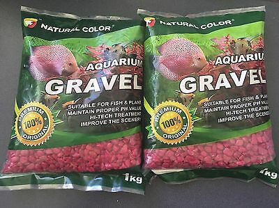 Aquarium Gravel Red - 1kg x 2