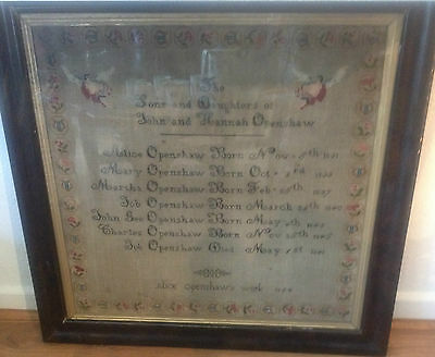 Antique large family record sampler - Openshaw - 1854