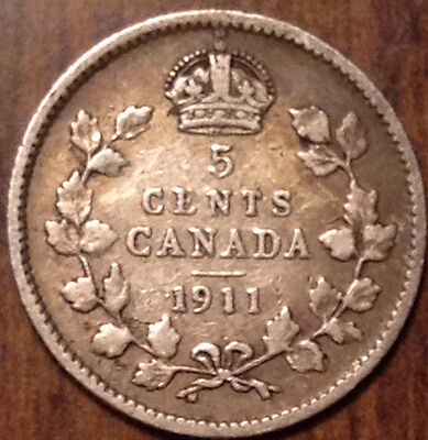 1911 Canada Silver 5 Cents In Good Condition