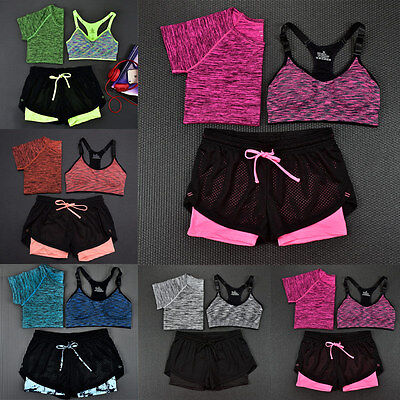 Women Yoga Fitness Leggings Running Workout Gym Stretch Sports Shorts+Tops+Bars