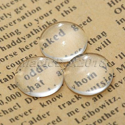 100X 12mm Crystal Clear Round Cabochon Flat Back Glass Dome Tile Jewellery Makin