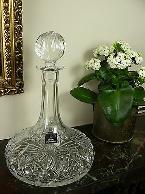 Vintage Luxury 24% Lead Crystal Cut Glass Royal DOULTON Large Ships Decanter New