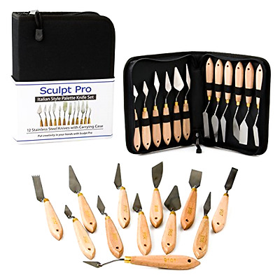 Palette Painting Knife Set 12 Pc Stainless Steel Art Knives with Carrying Case