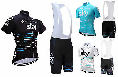 2017 Mens Cycling Team Kit Short Sleeve Bicycle Jersey Bib Shorts Set Sky Sports