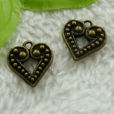 free ship 80 pcs bronze plated heart charms 17x17mm #3099