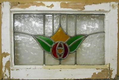 "OLD ENGLISH LEADED STAINED GLASS WINDOW Floral Design 20.25"" x 13.5"""