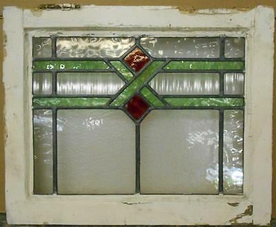 "OLD ENGLISH LEADED STAINED GLASS WINDOW Pretty Geometric 20.5"" x 16.75"""