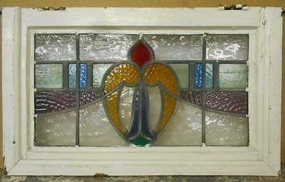"MID SIZED OLD ENGLISH LEADED STAINED GLASS WINDOW Heart Swag 23.5"" x 14.25"""