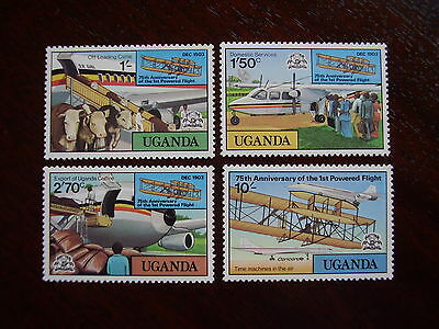 UGANDA 1978  25th.Anniv.of POWERED FLIGHT Issue FOUR Values to 10/-  MNH.