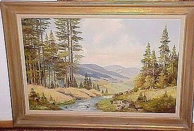 Large Vintage Scenic Mountain View Oil Painting  Artist Signed - Framed