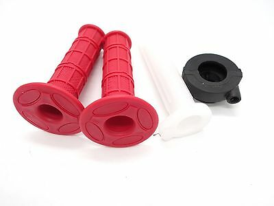 22mm Red Twist Throttle Hand Grips + Tube + Housing 50cc-140cc ATV Dirt Pit Bike