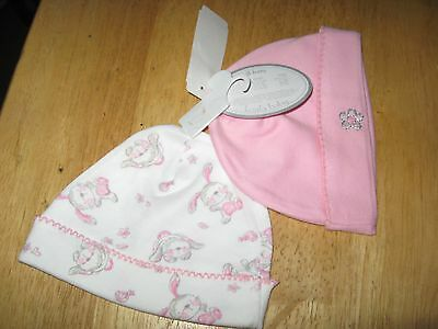 New set of two Baby girl Bunny and flower hats size 0-3 months