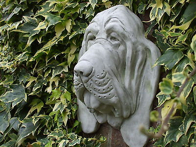 Big Bloodhound Dogs Head Stone Wall Sculpture