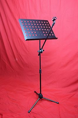 Boom Microphone Mic Stand & Sheet Music Note Stand Combo With Dual Sheet Holders