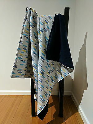 Handmade Baby Bassinet/Cot/Pram/Car Blanket - Cotton/Polar Fleece Backing -Large