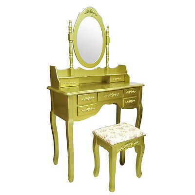 New Gold Dressing Table Makeup Desk 7 Drawers Oval Mirror + Free Stool UK Stock
