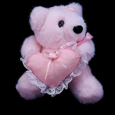 "Vtg 1992 Mini 5"" Pink Plush Valentines Bear Felted Nose Holding a Heart Pillow"