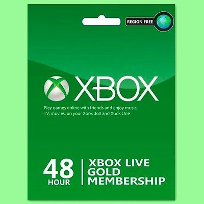 Xbox Live 48 hours Trial Gold Membership for Xbox One / 360 2 days Card Instant