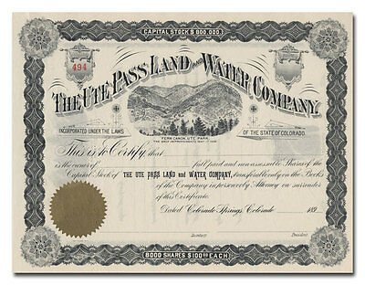 Ute Pass Land and Water Company Stock Certificate (1890's)