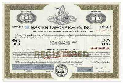 Baxter Laboratories, Inc. Stock Certificate (Olive)