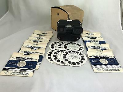 EARLY SAWYER VIEW-MASTER WITH CASE & 22 REELS (1940/50s?)