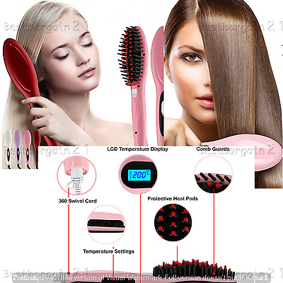 Electric LCD Hair Straightener Comb Brush Auto Hair Massager Tool Anti-scald UK