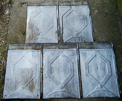 Vintage Galvanized Roof Roofing Shingles Tin Repurpose Tin