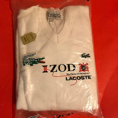 IZOD Lacoste Kids style small V-neck White sweat shirt 100% cotton-New (B)