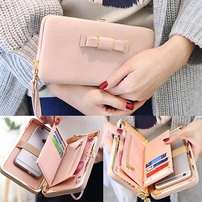 Women Bowknot Wallet Long Purse Phone Card Holder Clutch Large Capacity Pocket