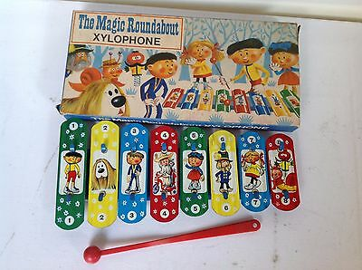 Vintage Highly Collectable Tin Plate The Magic Roundabout Xylophone, Box, Stick