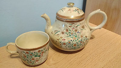 Vintage Japanese Earthenware Small Hand Painted Teapot & Cup. Good Condition