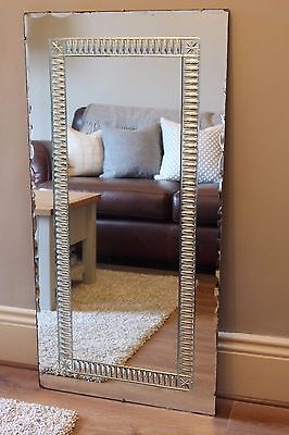 ENORMOUS True Vintage Bevelled Frameless Overmantel Wall MIRROR Large 112X56cm