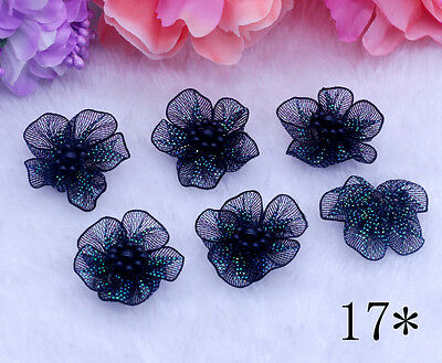 10pcs 30-30mm DIY Pearl For Sewing Teal Bows Appliques Craft  Decoration