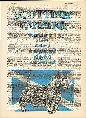 Scottish Terrier Dog Traits Altered Art Print Upcycled Vintage Dictionary Page