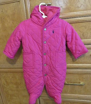 girls infant Polo Ralph Lauren one piece snowsuit/ bunting pink size 3M NWT $115