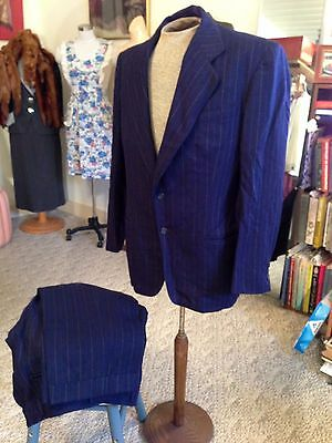 Vtg. 40's HOLLYWOOD Bond Chalk Stripe Navy Blue Wool 2 Pc Suit ~ Jacket & Pants