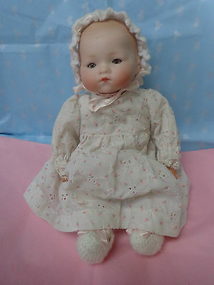 Antique Doll Armand Marseille Bisque Head Baby Unusual Brown Eye Closed Mouth