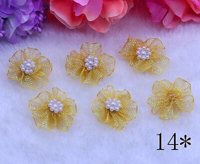 10pcs NEW 30-30mm DIY Pearl For Sewing Ochre Bows Appliques Craft  Decoration