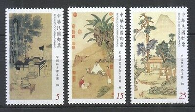 Rep. Of China Taiwan 2016 Ancient Chinese Paintings (Tea) Comp. Set 3 Stamp Mint