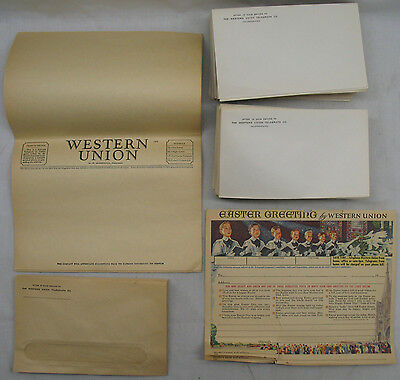 Western Union Telegrams (12) and Envelopes (98) Easter Greeting
