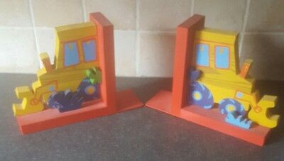 Childrens Wooden Digger Bookends
