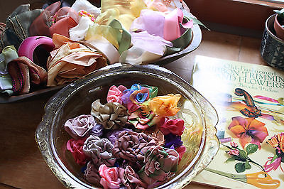 Vintage Millinery Ribbons Roses Flower Lot Handmade Ribbons and Book