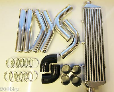 "Universal Front Mount Intercooler Kit FMIC 63mm 2.5"" BLACK HOSES 550x140x65 Core"