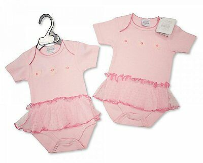 Frilly Fancy Baby Girl Bodysuit Tutu Body Vest with ballet shoes/flowers NB-6 M