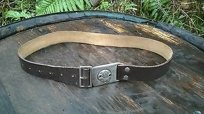 "Vintage Boy Scout Leather Belt In Very Good Order. Adjustable 22-27"" Waist"