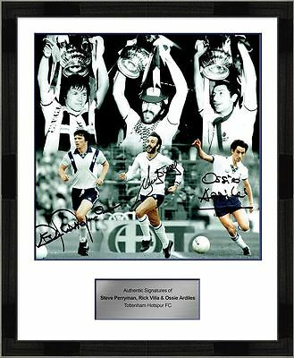 Signed Steve Perryman Ricky Villa and Ossie Ardiles Spurs Signed Photo Montage