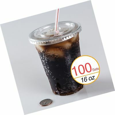 16 oz Plastic Clear Drink PET Cups with Flat Lids 100 Sets