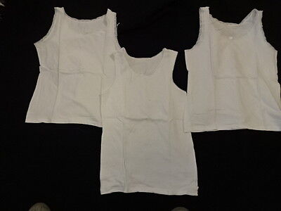 NEXT & M&S Girls White S/L Vests x 3  Ages 11-12 Years