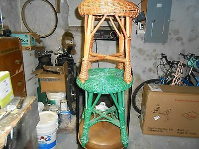 TWO Vintage Rattan Wicker stool/ Plant Stand Mid Century